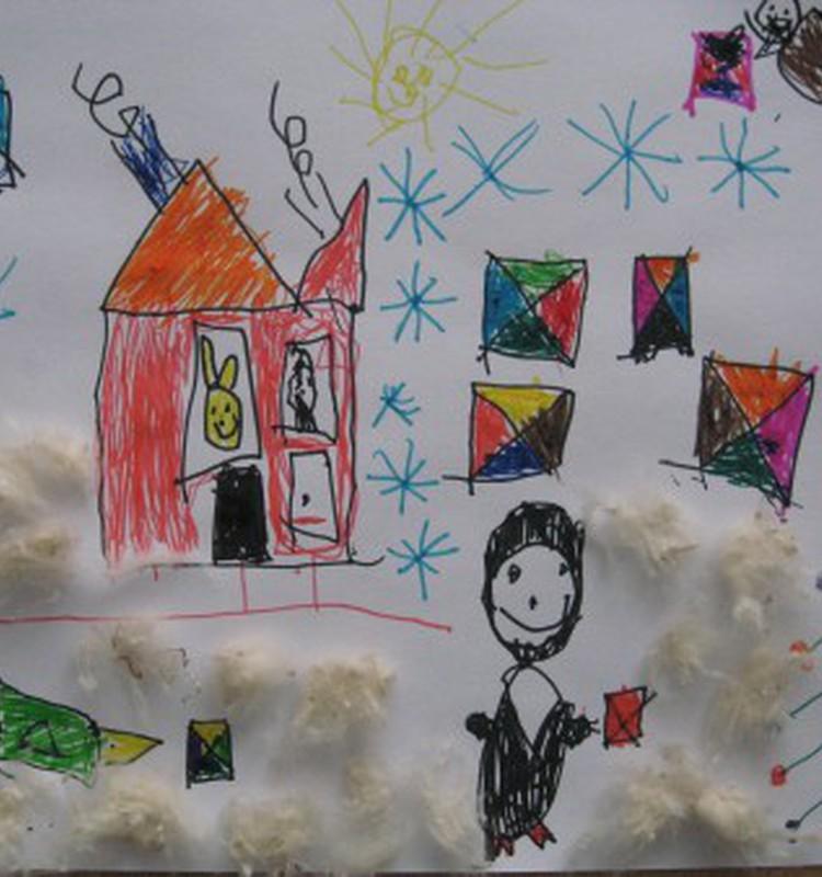 Augusto piešinys Kalėdų Seneliui