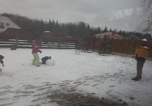Naujuju metu diena dziaugiames sniegu.Seimyna ir sveciai lipdo sniego seni ir tvirtove.Puiki pramoga ir visi laimingi...Dziaugiasi dideli ir mazi