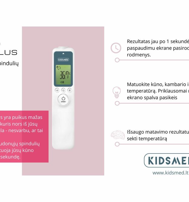 """""""Kidsmed TermoPlus"""" bekontaktis infraraudonųjų spindulių termometras matuoja kūno, patalpos ir vandens temperatūrą"""