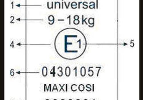 Ką reiškia simboliai ant automobilio kėdutės etiketės?