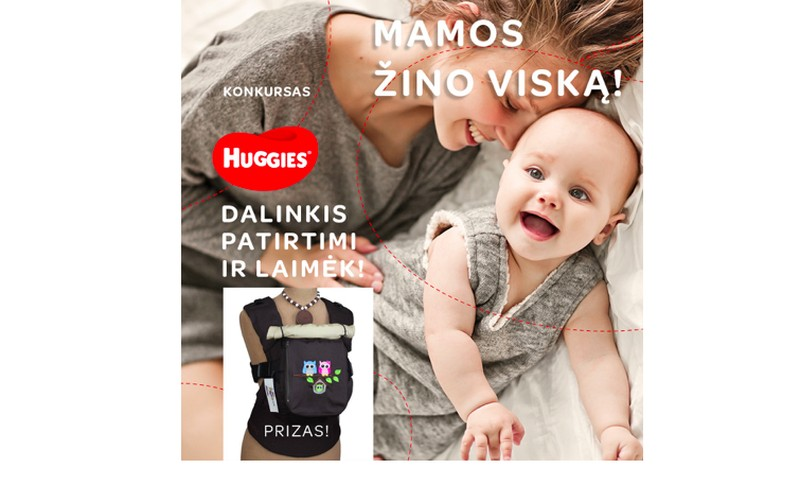 KONKURSAS: Dalinkis patirtimi ir laimėk kūdikio nešioklę + Huggies® sauskelnes!