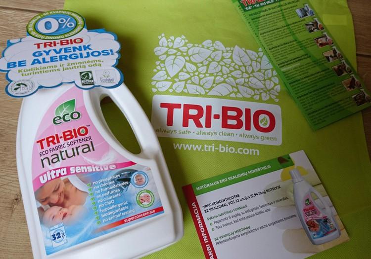 TRI-BIO gaminių apžvalga: natūralus eko skalbinių minkštiklis