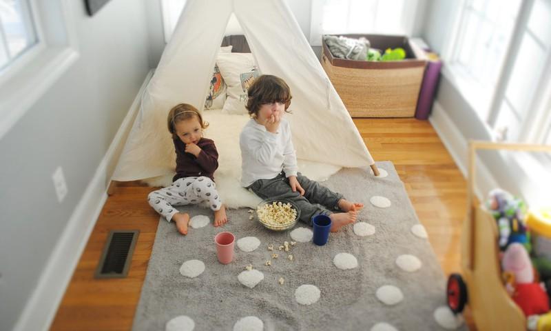 Skalbiami medvilniniai kilimai vaikams