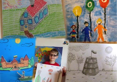 """FOTOALBUMAS: Vaikų piešiniai """"Lietuva, su 100-uoju gimtadieniu!"""""""