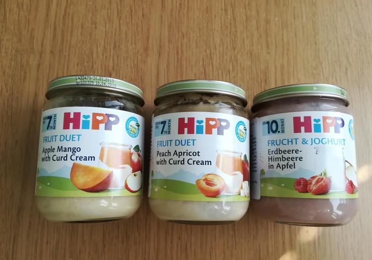 Skanios HIPP vaisinės tyrelės su jogurtu, kremine varške