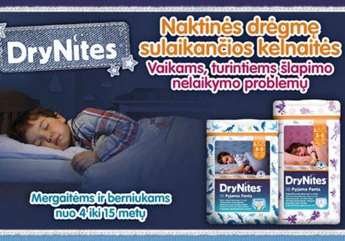 Huggies® DryNites® vaikams, kurie pabunda šlapioje lovelėje