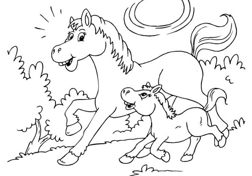 10 arklių spalvinimo paveiksliukų - parsisiųskite!