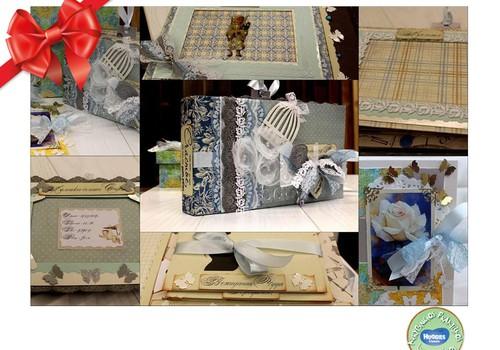 Huggies® šventinių dovanų katalogas: nuotraukų albumai skrapbukingo stiliuje