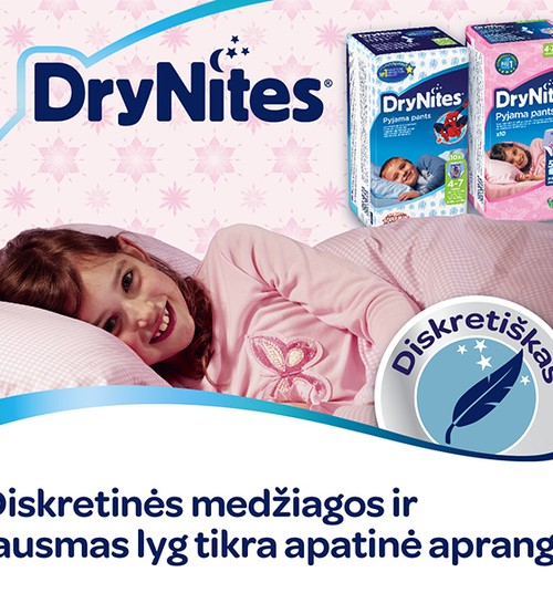 Drėgmę sugeriančios kelnaitės DryNites® - vaikams, kurie pabunda šlapioje lovoje